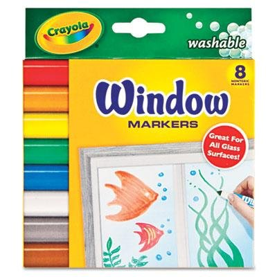 Washable Window FX Markers, Conical Tip, Assorted Colors, 8/Set