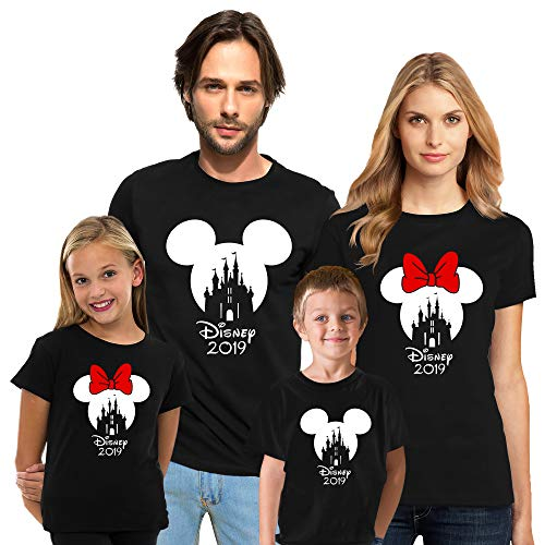 Cali Trend Station Mickey Mouse Minnie Mouse Family Vacation 2019 Magic Kingdom Couple Matching Crew T Shirts for Men Women Youth Kids Cotton Shirts Black Kids Girls ()