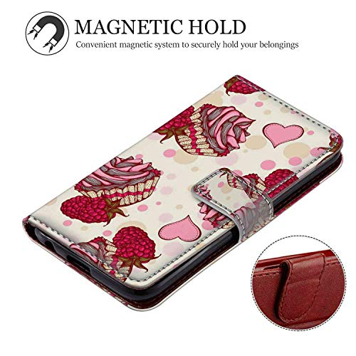 (Wallet Leather Card Holder Case Fit for iPhone Xr Raspberry Cupcake Stand Shockproof Bumper Protective Cover Shock Absorbent)
