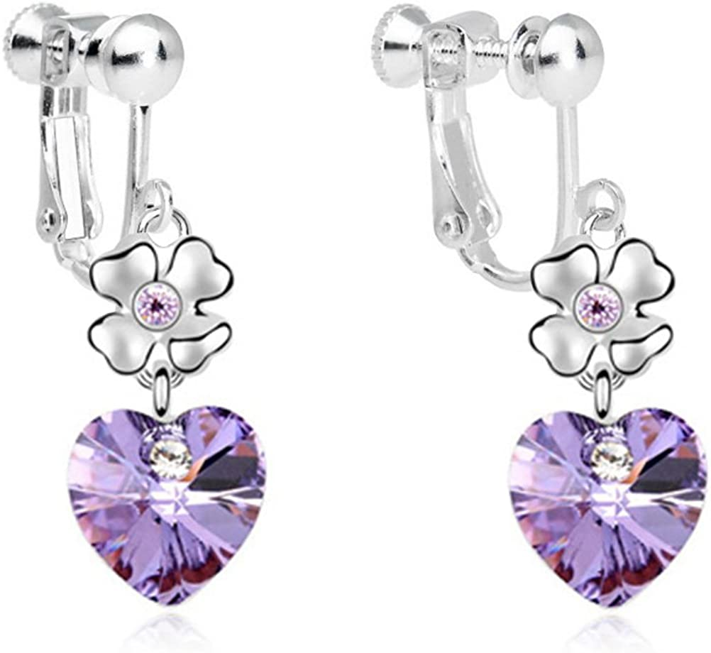 Screw Back Clip on Heart Moon Star Earring Clip for No Piercing I Love You to the Moon and Back Purple