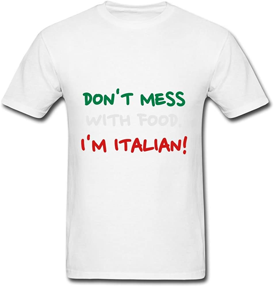 LoreHolla Men Im Italian Food Printed Round-Collar Funny Color T-Shirt in Size