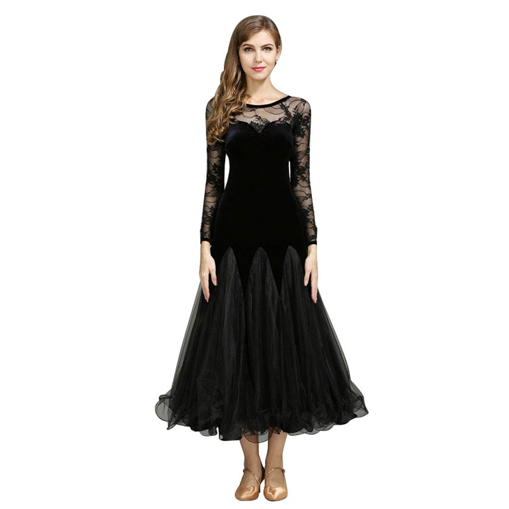 Edwardian Evening Gowns | Victorian Evening Dresses National Standard Dance Dresses for Women Competition Costume Lace StitchingBallroom Waltz Tango Dance Performance Suit Suit $94.72 AT vintagedancer.com