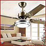 OCT® Original Design Indoor Pendant Lights 4 Stainless Steel Blades +Wireless Remote Control+Modern Chandelier 48 Inch Led Ceiling Fan Lights Fashion Ceiling Fan Motor Lighting (Antique Brass)