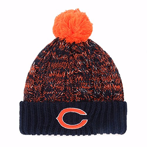- OTS NFL Chicago Bears Brilyn Cuff Knit Cap with Pom, Navy, Women's