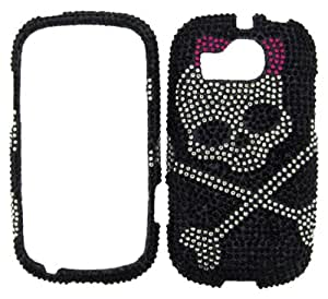 RHINESTONE CELL PHONE COVER PROTECTOR FACEPLATE HARD CASE FOR ZTE MEMO A415 SKULL ON BLACK 130