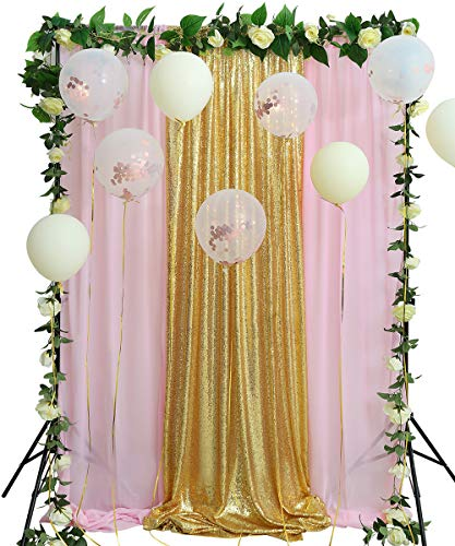 Sequin Backdrop 8.8FTx8FT Gold Curtain Prom Decoration Backdrop Pink Chiffon Drapes Panels for Event Decor