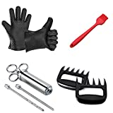 Bigface Up Barbecue Silicone Gloves & Pulled Pork Claws & Seasoning Injector & Basting Brush Set for Cooking, Grilling, Baking, Roasting Black