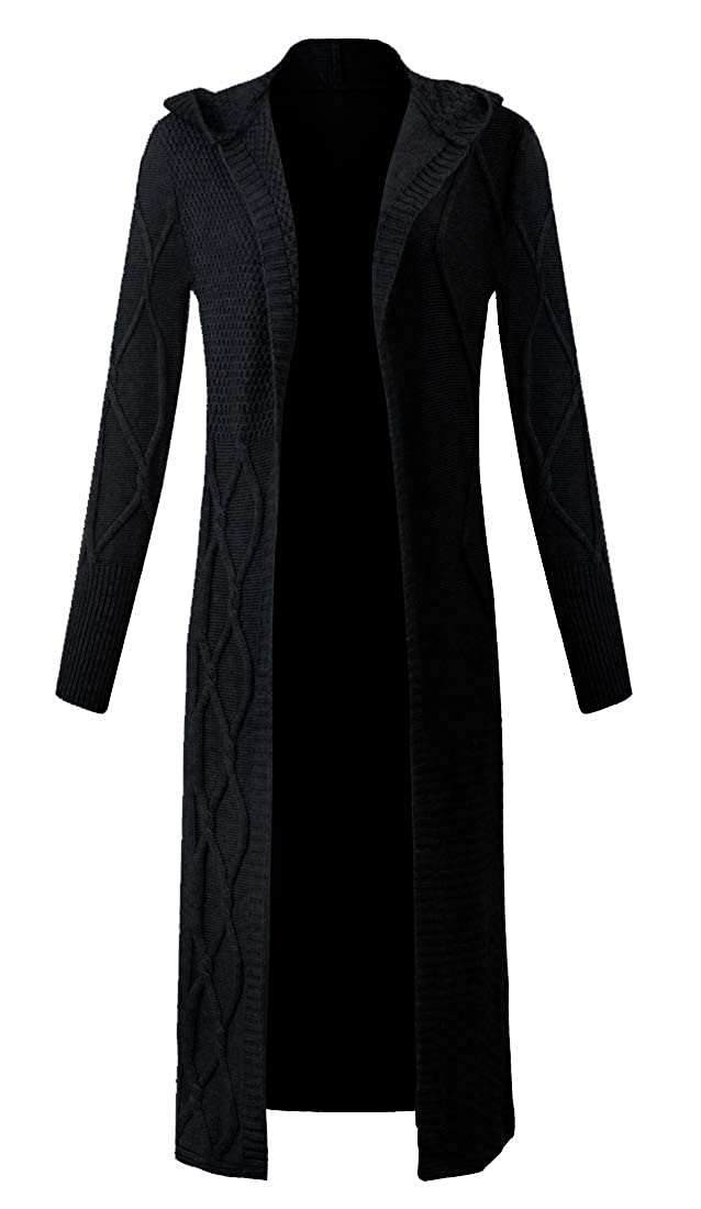 Black Panreddy Women's Wool Thicken Long Open Front Knitted Cardigan with Hat