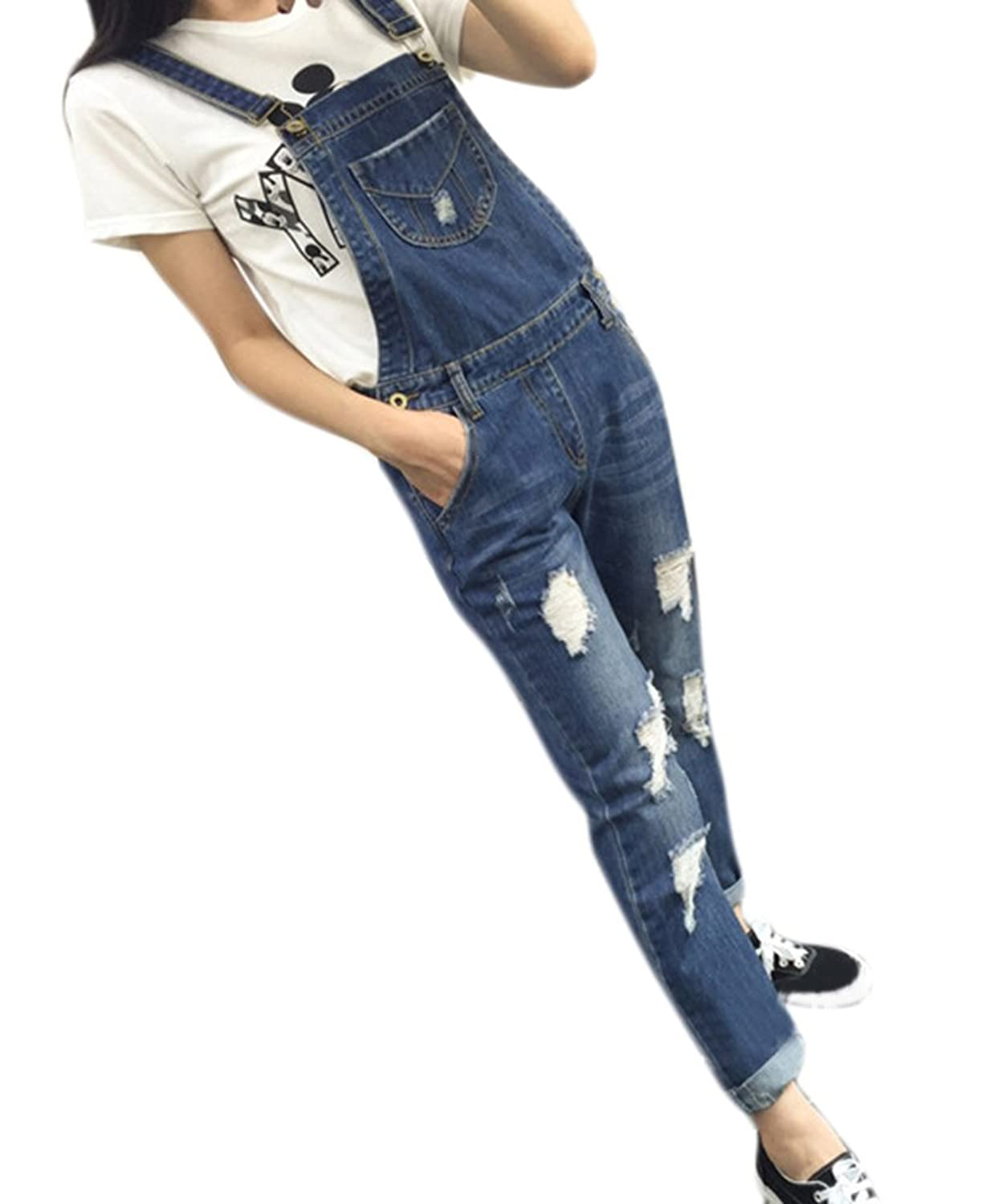 Ace Women鈥檚 Teen-girls Fashion Relax Slim Fit Pencil Jeans Overalls Plus Size