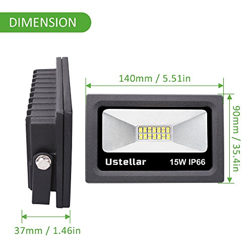Ustellar 2 Pack 1200lm 15W LED Flood Light, IP66