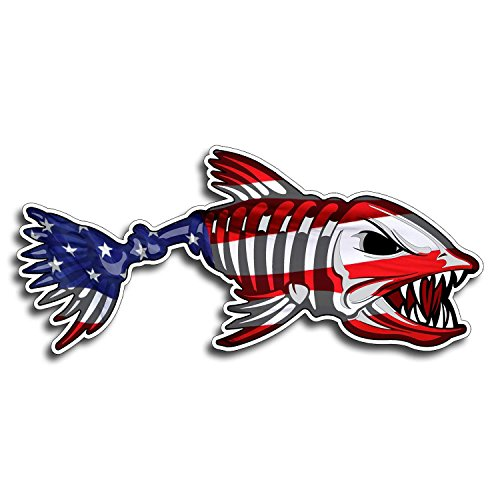 (2 pieces SET | USA Bone Fish Sticker - Patriotic American Flag Fishing Decal Vinyl Die Cut)