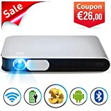 WOWOTO CAN Mini Projector Portable Video Projector DLP Support 3D Full HD 1080P 300in Multimedia with Auto Keystone 7800mAh Battery Android WiFi AirPlay Bluetooth HDMI Fit Laptop PC TV Box DVD Player
