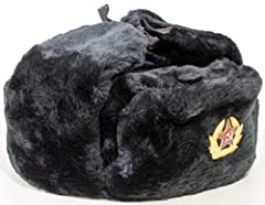 """Russian Ushanka Hat. Classic, decades proven design. Same as seen in """"Hunt for Red October"""".  Faux Fur. Durable and Warm for everyday wear.  Great value set! Russian army summer cap & set of soviet pin-badges replica`s to decorat..."""