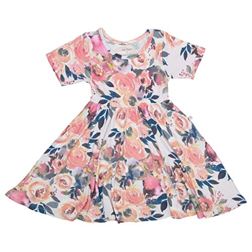 PoshPeanut Baby Twirl Dress - Infant Girl Clothes - Viscose from Bamboo (Dusk Rose, 3T)