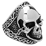 Spartan Stainless Steel Skull in Chains Ring (stainless-steel, 10)