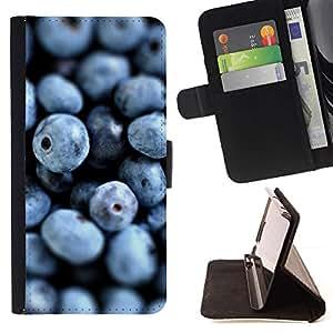 For Sony Xperia M2 Case , Arándanos Bosque Saludable Vitaminas frescas- la tarjeta de Crédito Slots PU Funda de cuero Monedero caso cubierta de piel