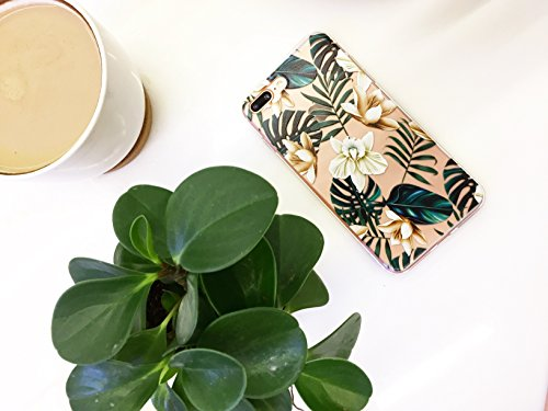iPhone 8 Plus(7 Plus) Bahama Leaves Aloha Love Summer Tropical Coffee Floral Clear Rubber Case for iPhone 7 Plus-Colored Vintage Flower Floral Japanese Cherry Blossom Roses iPhone 8 Plus Case Photo #6