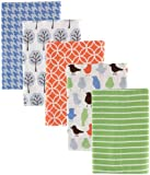 Luvable Friends 5 Count Flannel Receiving Blankets, Blue Birds and Trees (Discontinued by Manufacturer)