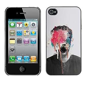 GOODTHINGS Funda Imagen Diseño Carcasa Tapa Trasera Negro Cover Skin Case para Apple Iphone 4 / 4S - arte abstracto monstruo pintura photo hombre
