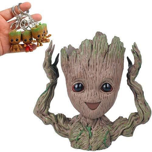 Groot Flowerpot Treeman Baby Groot Action Figures - Guardians of The Galaxy Flowerpot Baby Cute Model Toy Planter Pen Pot (4 Pack Free Original Keychain) (Hands up) ()