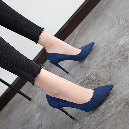 Blue professionali femminile Sharp selvagge medie e con Tacchi 2017 tacchi alti Jqdyl Autunno estate alti 9cm scarpe Nuovo wqASzya