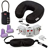 HeroFiber Travel and Flying Comfort Kit, Includes Memory Foam Neck Pillow, International Adapter with USB, Eye Mask, Noise Canceling Ear plugs(reusable), TSA Approved Luggage Lock,