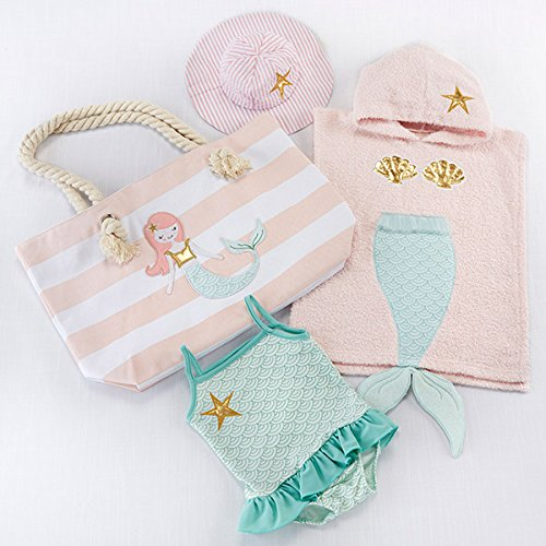 Baby Aspen Mermaid 4 Piece Beach Gift Set with Canvas Tote for Mom by Baby Aspen