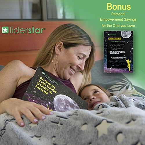 Glow in The Dark Stars and Full Moon Wall Stickers 220 Adhesive Glowing Star Beautiful Wall Decals for Any Room,Light Your Ceiling,Bonus Affirmation Card for Kids Toddlers, Christmas Birthday Gift