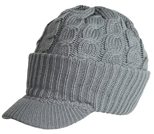 FashionTS Newsboy Cable Knitted Hat With Visor Brim Winter Warm Hat Unisex Men Women