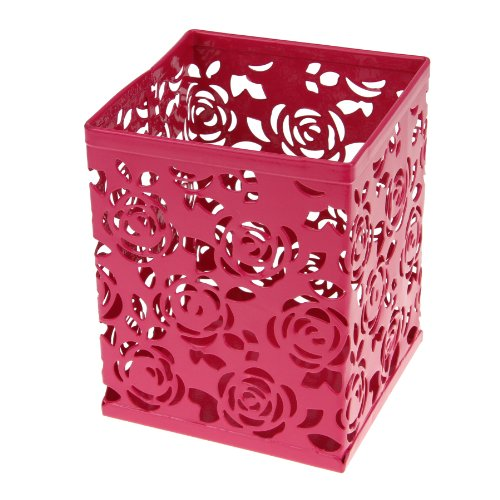 clobeau-office-products-metal-flower-rose-design-square-pen-holder-case-pencil-cup-box-container-des