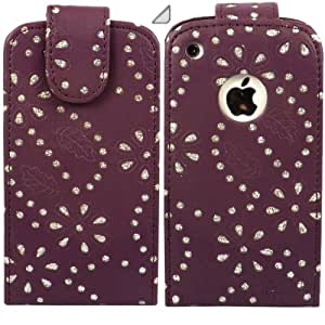Diamante Flip Case Cover Skin And LCD Screen Protector For Apple iPhone 3G 3GS / Purple
