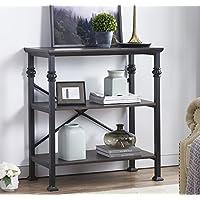 O&K Furniture 3-Shelf Industrial Wood and Metal Bookcase,...