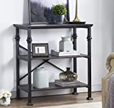 "O&K Furniture 3-Shelf Industrial Wood and Metal Bookcase, Multi-Function Etagere Bookshelf Designed for Home Decor, Black-Espresso, 32.7""x 16"" x 34.6''H"