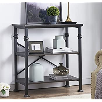 Ou0026K Furniture 3 Shelf Industrial Wood And Metal Bookcase, Multi Function  Etagere Bookshelf