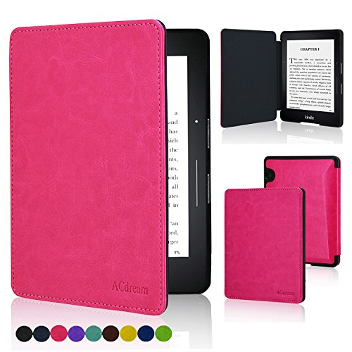 ACdream Kindle Voyage Case, the Thinnest and Lightest Premium PU Leather Cover Case for Kindle Voyage (2014) with Auto Wake Sleep Feature, Hot Pink