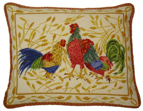 - Deluxe Pillows Three Roosters - 16 x 20 in. needlepoint pillow