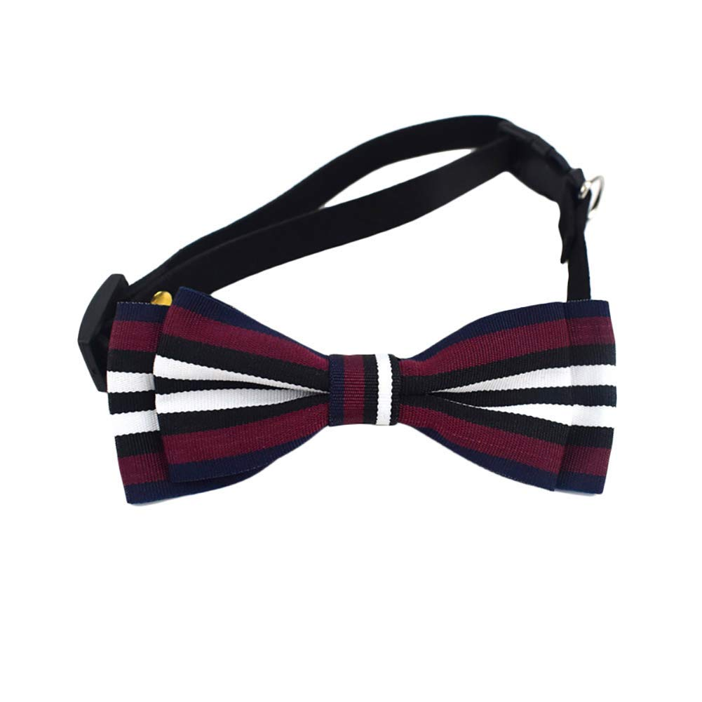 PET COLLAR HOME Pet Dog Tie Adjustable Collar Bow Tie Stripe Design Bow Tie for Puppy Kitten Small Cats Dogs Pets-Red Wine M (Size   Red Wine S)
