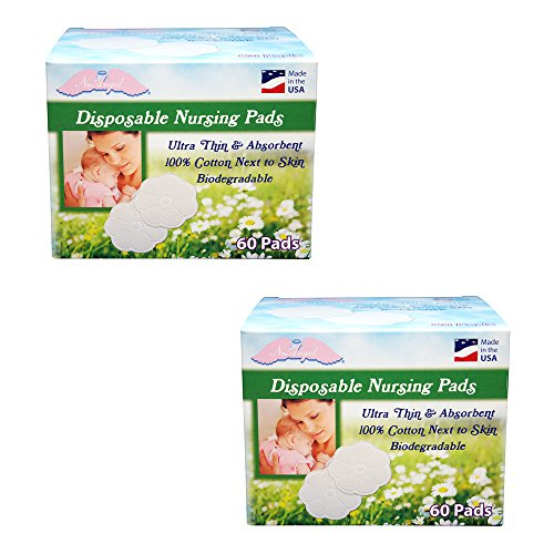 NuAngel All-Natural Cotton Biodegradable Cotton Nursing Pads, 120 Count