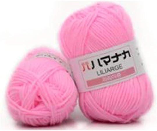 Hilo de algodón peinado de 4 acciones Hilo cómodo de lana mezclada Ropa de hilo de coser Bufanda de tejer a mano Hilo de sombrero - Polvo brillante: Amazon.es: Hogar