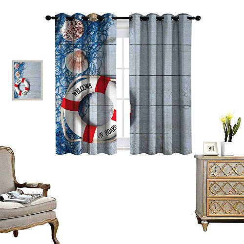 Anyangeight Buoy Window Curtain Drape Welcome on Board Message on Lifebuoy with Fishing Net Seashell Wood Floor of Boat Decorative Curtains for Living Room W55 x L72 Dust Blue Red