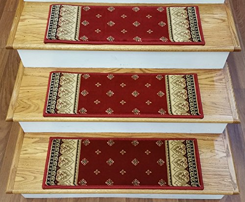 Claret Traditional Rug - Rug Depot 153490 Traditional European Non Slip Carpet Stair Treads - Set of 13 Stair Treads 26