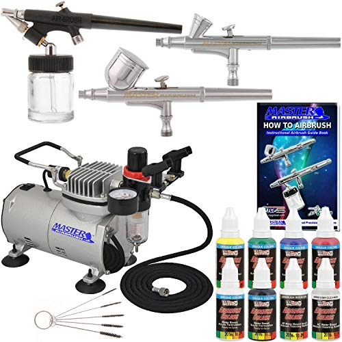 3 Airbrush Pro Master Airbrush Multi-Purpose Airbrushing System with Air Compressor Kit and a U.S. Art Supply 6 Primary Opaque Colors Acrylic Paint Set - G22, G25, E91 Gravity & Siphon Feed Airbrushes (Renewed)