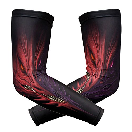 ZZKKO Dragon Head Cooling Arm Sleeves Cover Uv Sun Protection for Men Women Running Golf Cycling Arm Warmer Sleeves 1 Pair ()
