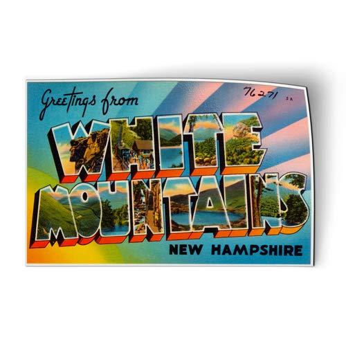 AK Wall Art Greetings from White Mountains Hampshire - Magnet - Flexible Waterproof - Fridge Locker - Select Size