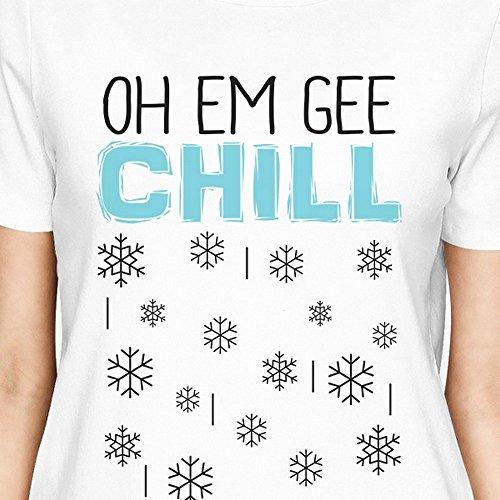mujer Printing Snowflakes Chill de manga Em Oh de corta Gee Camiseta 365 para una pieza zdBO6qqxw
