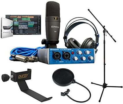Presonus AudioBox 96 Studio with MS-101 Mic Stand and AxcessAbles Mic Pop Filter