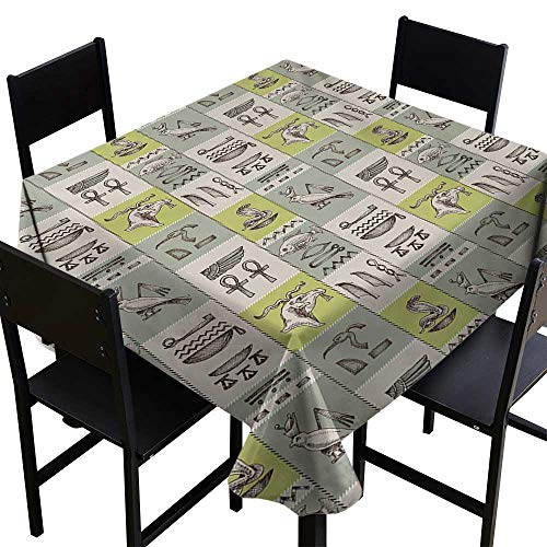 ScottDecor Egyptian Tablecloth Modern Historical Papyrus Manuscripts Inspired Hieroglyphs Animals Tablecloth for Square Table Tan Reseda Green Yellow Green