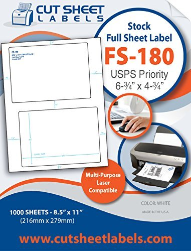 USPS Priority Mail Format (1000 sheets/ Ream) 2000 Full Sheet Shipping - Cost Mail Priority Shipping