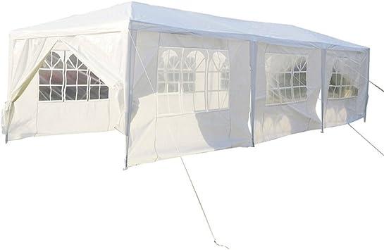 MCTECH® 3 x 9 m avec 8 parois laterals Blanc Tente de réception exterieure  Tente de Jardin Pavillon bâche imperméable en PE