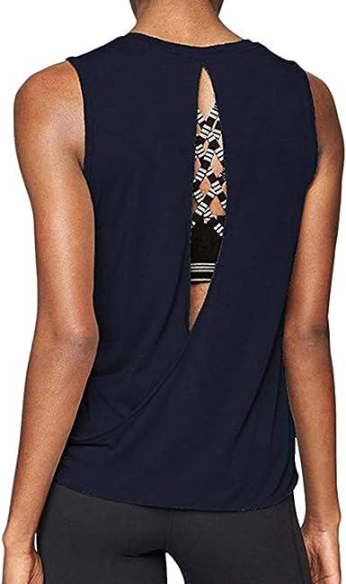 POLP Camiseta Deportiva de Tirantes Chaleco Espalda Abierta de Yoga para Mujer Ejercicio y Fitness Entrenamiento de Malla Camisas Tank Tops Camiseta de Fitness Talla Grande Casual S-XL: Amazon.es: Ropa y accesorios